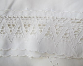 Vintage White Broderie Anglaise Pillowcases,matching 8