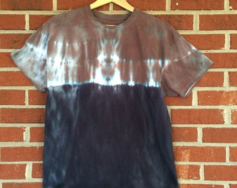 Shibori Dip Dye, Size Large, Brown, Blue, Black Tie Dye