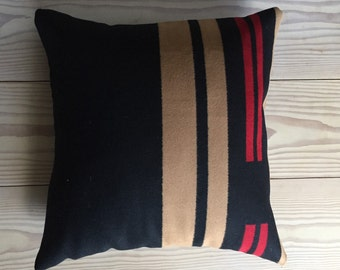 Modern Wool Pillow. Made from Pendleton Blanket Fabric, Down