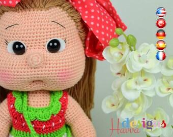 PATTERN- Mia Doll With Strawberry Dress (crochet, amigurumi)