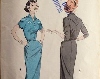 Vintage 1950s Sewing Pattern Butterick 7231 Womens Yoked Wiggle Dress