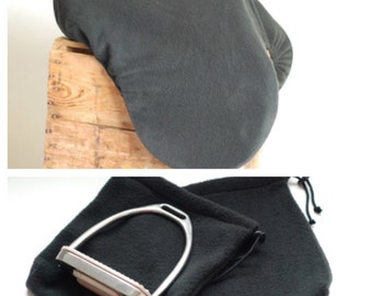 CLASSIC BLACK equine Horseback Riding All Purpose Saddle Cover with matching stirrup covers - save when you buy as a set