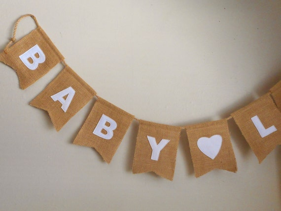 Burlap banner / Baby Shower / decor / word sign - rustic decoration / swallow tail / burlap flags / pennants / party / wall art