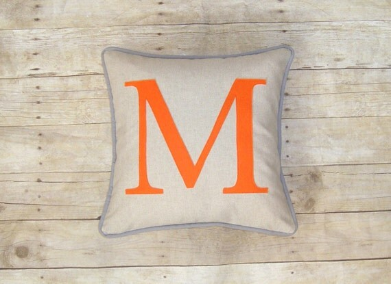 Personalized Pillow - Cover - Initial Pillow - Wedding Gift - Pick Colors - Monogram Pillow - Grey and Orange Pillow - Orange Letter - decor