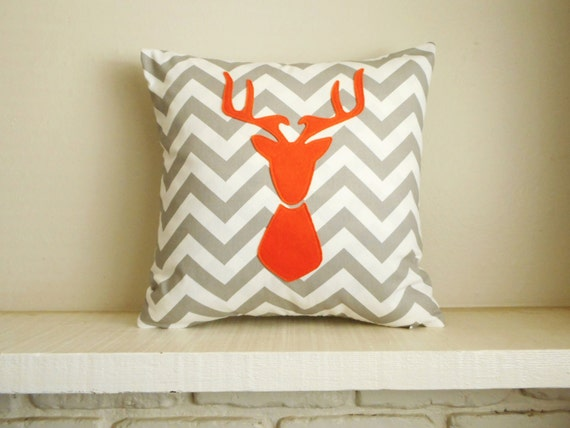 Deer Pillow - 30 colors to choose from - Pillow cover - orange deer / gray chevron - woodland decor - Pillow with deer - Deer Silhouette -