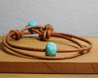 Women's Leather Bracelet, Turquoise howlite leather bracelet, Women's leather jewelry, Beads &  leather bracelet, Leather jewelry, Item O200