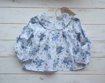 Girls Blue Flower Blouse Long Sleeve Peter Pan Collar