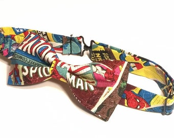 Comic Book Bow Tie • Pre-Tied Bow Tie • Marvel Bow Tie • Fathers Day Gift • Superhero Bow Tie • Spiderman Bow Tie • Comic book gift