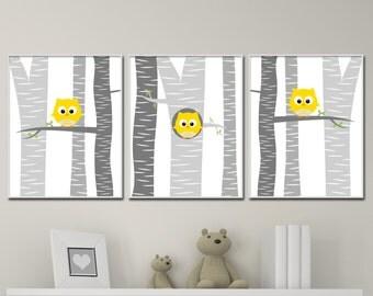 Woodland Owl Nursery Art, Suits Yellow and Grey Nursery Decor, Baby Owl Nursery Wall Art Print, Baby Boys or Girls Bedroom Decor - H264