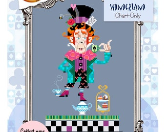 Brooke's Books Wonderland Mad Hatter Cross Stitch Chart-Only (Instant Download)