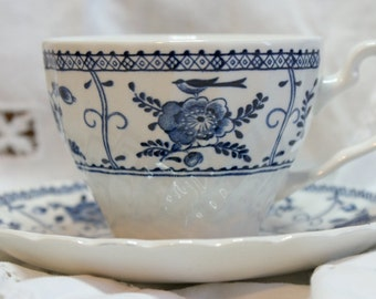 Johnson Bros., Blue and White Pottery, Tea Cup and saucer, Indies Pattern, Afternoon  Tea
