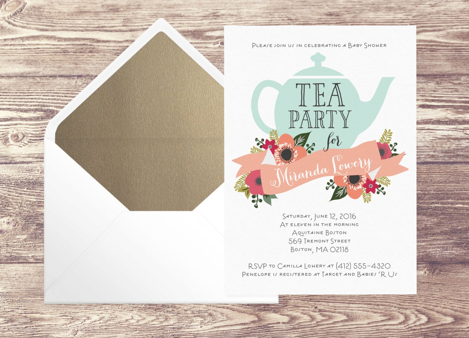 printed baby shower tea party invitation with gold envelope
