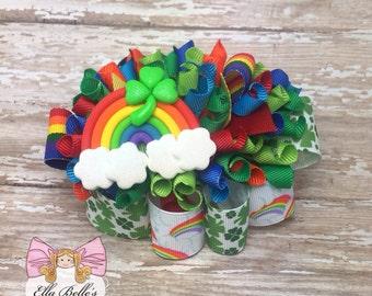 St. Patricks Day Funky Loopy Bow~ rainbow bow, ott bow, shamrock bow