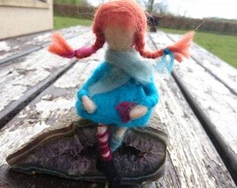 Needle felted Pippi Longstocking