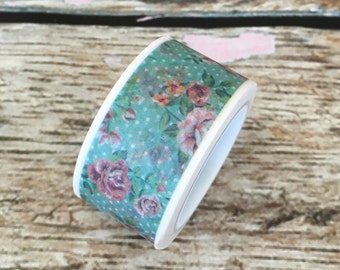 Shabby Chic Mint Floral Wide Washi Tape 20mm
