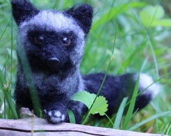 Needle Felted Poseable Silver Fox