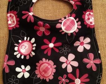 Waterproof Black With Pink Flowers Baby Bib