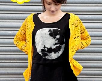 Luna Long sleeve black nursing top, breastfeeding top - Hand printed