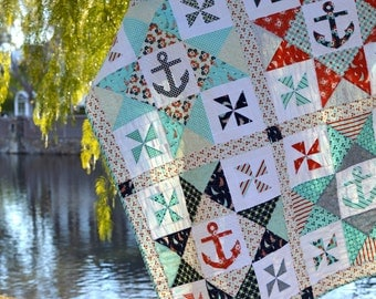 Come Sail Away With Me PDF Quilt pattern {Anchor Quilt} {Nautical Quilt}