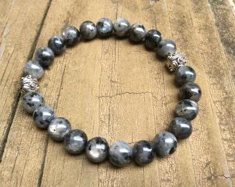 Mystic Labradorite Bracelet, Labradorite Gemstone Jewelry, Blue Flash, Bali Silver Beads, Boho Gray