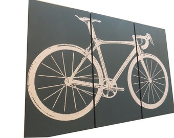 Road Bike / Street Bike Wall Art /  Bicycle Screen Print / Wood Painting Wall Art on Stained Solid BIRCH 3/4 inch thick • Gift for Him / Her