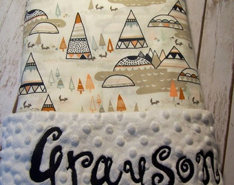 Personalized Baby Blanket Minky and Designer Cotton fabric blanket with matching bib and burp cloth included.