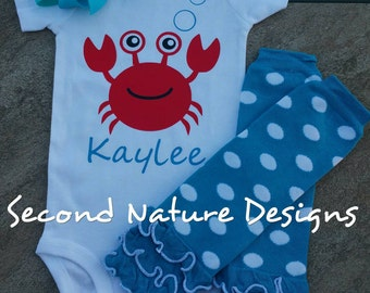 Baby Girl's Monogram Personalized Crab Onesie Gift Set