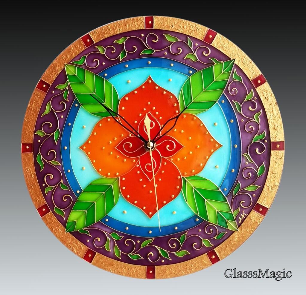 Flora Mandala Glass Clock glass painting glass art vitrail