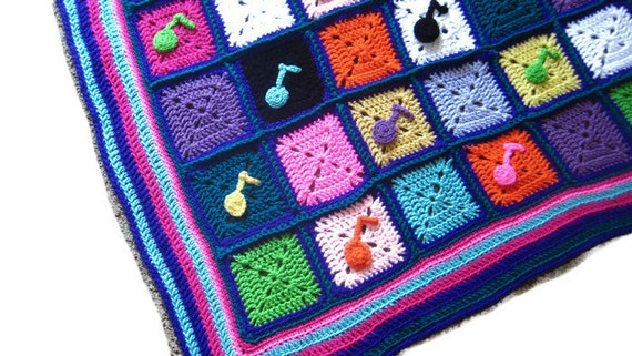 Music Notes Handmade Crochet Afghan, Baby, Toddler, Child or Adult ...