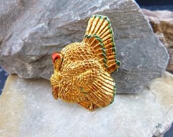 Vintage Thanksgiving Turkey Brooch Decorative Golden Feathered Detail Textured Figural Pin