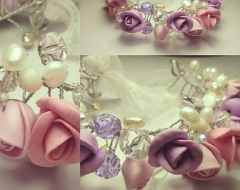 Wedding - Bracelet for the wedding - Rose bracelet - flower bracelet - Romantic bracelet  - spring flowers - white flowers