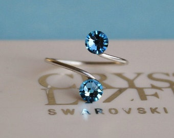 Silver Plated Aquamarine Adjustable Toe Ring made with Swarovski Crystal Elements