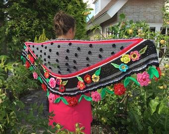 Crochet shawl crochet stole flowers boho dots