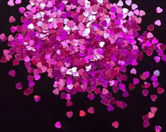solvent-resistant glitter shapes-magenta hologram hearts