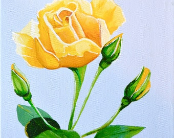 "Original Acrylic Floral/ Rose/Nature Painting on Canvas  Titled Yellow Rose,  08"" X 08"""