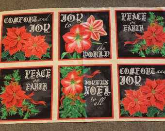 A Golden Holiday BTY Laurie Cook Quilting Treasures Poinsettia Gold Black