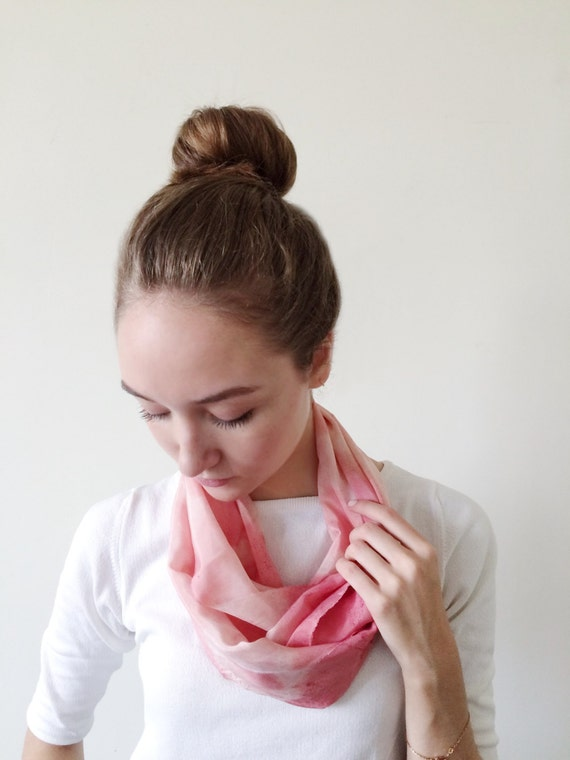Pink Scarf-Infinity Scarf-Silk-Scarf-Scarves-Scarves for Fall-Scarves for Summer--Scarves for Spring-Holiday Gift-Gift for Mom-Gift for My
