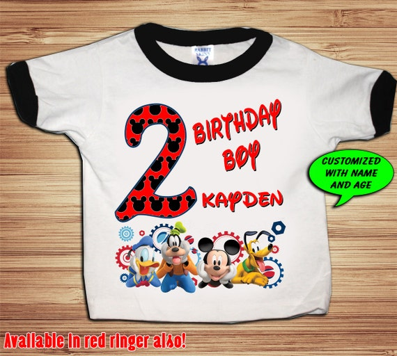 Personalized Mickey Clubhouse Birthday Ringer T Shirt - disney, clubhouse, minnie, goofy