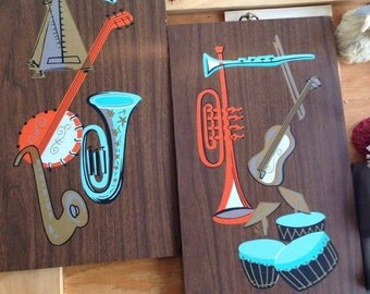 1960s Painted Instruments on Plaques (Pair)