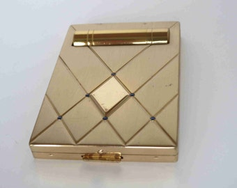 BOURJOIS Gold Tone Compact With Lipstick