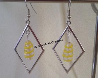 Silver & Yellow Earrings