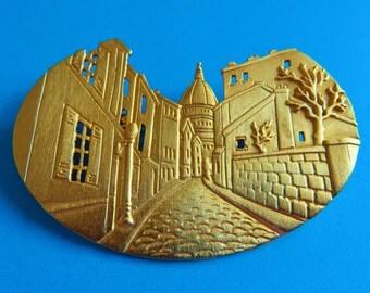 JJ Jonette Gold Tone Street Scene Brooch Pin