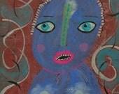 Outsider Art Brut Bea Roberts Surreal Face Primitive Naive Pop Surrealism Figurative Portrait