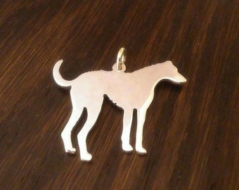 Lurcher/ Deerhound type sterling silver silhouette pendant