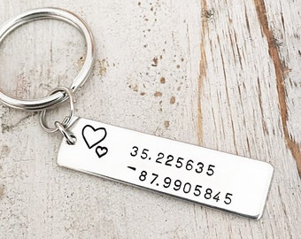 Personalized Coordinates Jewelry - Coordinates Keychain  - Latitude Longitude Keychain -  Geographic Location Coordinates - Wedding Location