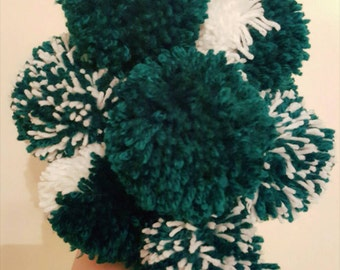 Hand made large yarn pom poms