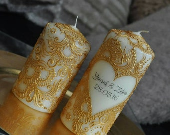 Ivory & Gold Wedding Candles
