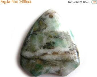 SALE Green African Jasper Pendant Bead - Focal Bead - Statement Bead