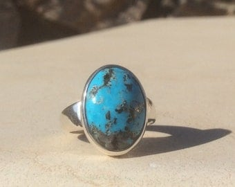Turquoise Silver Ring, Oval Stone Ring, Gemstone Ring, December Birthstone Ring, Statement Ring, Turquoise Ring