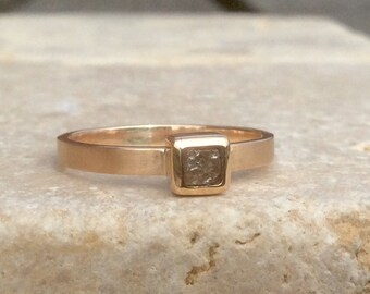 Natural Diamond Ring, Rough Diamond 14k or 18k Gold Ring, Raw Diamond Gold Ring, Wedding Jewellery, Engagement Ring, April Birthstone Ring